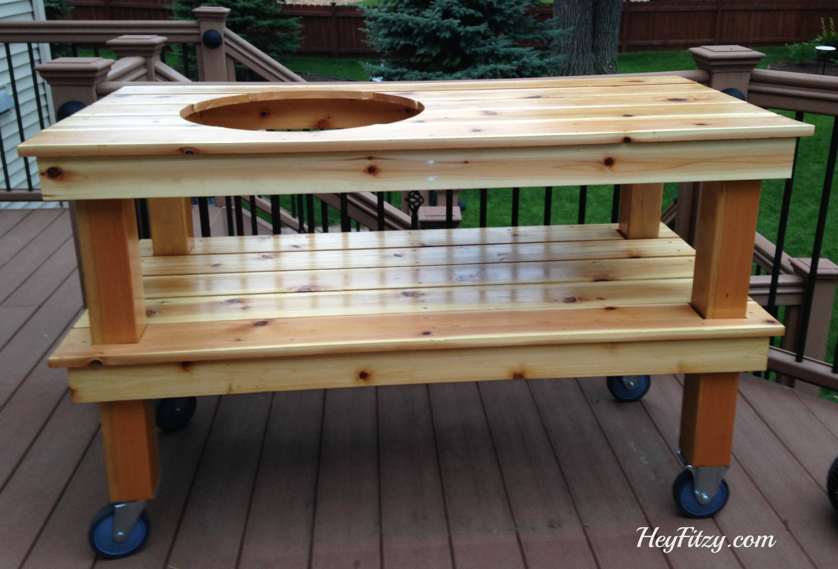 After Creating The Table Fitzy Used A Router To Create The Opening For The  Egg. 2×4 Pieces Of Cedar Were Used On The Under Side Of Each Shelf For ...